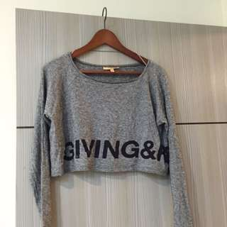 Zara灰色字母短版上衣