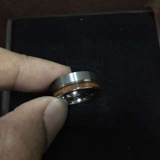 Handmade Tungsten Carbide Ring With Wood Inlay