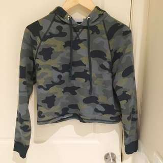 Cropped Camo Jumper with hood