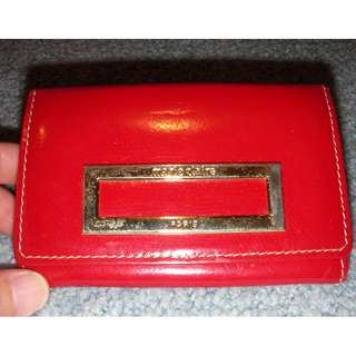 """Marie Claire"" real leather card holder pouch, red, 11.2x7.5cm when closed 2 compartments"