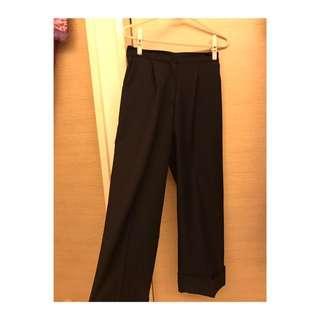 黑色寬褲(材質舒服)