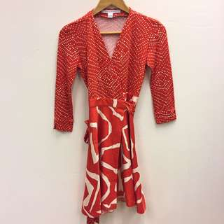 DVF red and white dress size 0