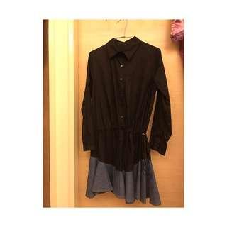 黑色拼接牛仔排扣襯衫洋裝