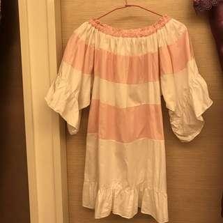 (九成新僅試穿)軟妹平口一字粉紅條紋洋裝