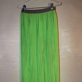 Fluorescent Green maxi skirt with striped waistband