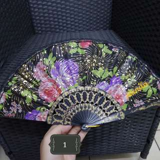 Hand Fan - Black with Flower Design