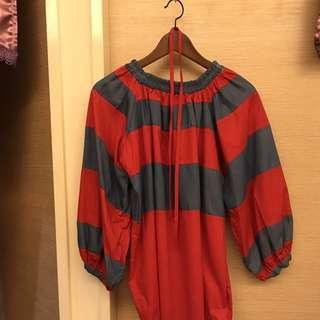 紅藍條紋綁帶一字平口洋裝