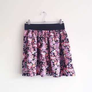 Jay Jays girly purple pink orange floral print flowy high waisted skirt with black elastic waist band