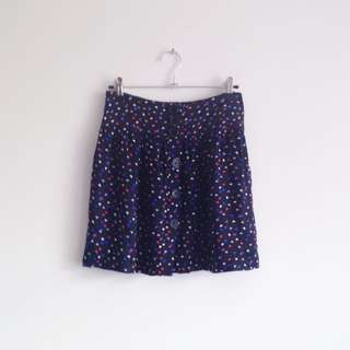 Jay Jays blue red white heart print printed high waisted flowy skirt with buttons and elastic waistband