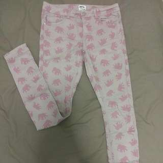 Cute Pink Elephant Jeans // Size 8