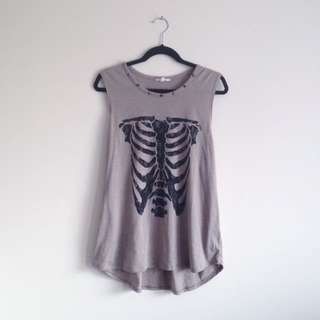 Jay Jays Skeleton Print edgy goth Muscle Tank with studded collar