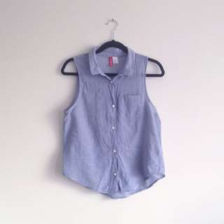 H&M denim look sleeveless collar collared button up top