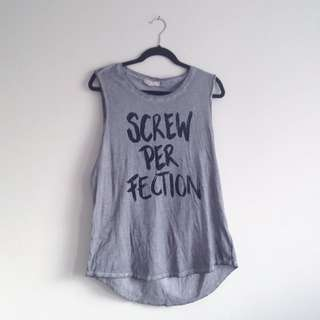 Jay Jays Screw Perfection graphic edgy rocker grey muscle tank with silver chain detail on sleeves