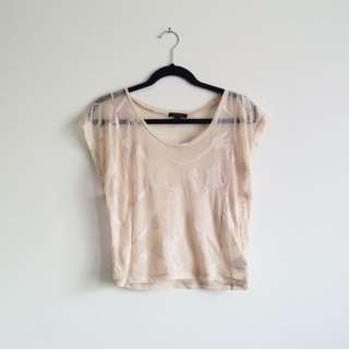 Portmans sheer feather print cream coloured  t-shirt