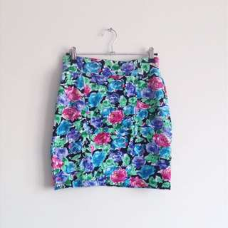 Cotton On Bright colourful floral high waisted bodycon tight clubbing skirt girly blue green purple pink