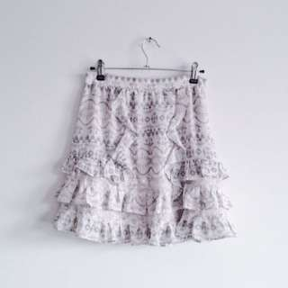 Portmans black and white print printed ruffle layer layered high waisted skirt