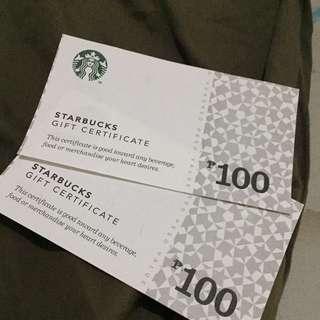STARBUCKS GIFT CERTIFICATE 100 200