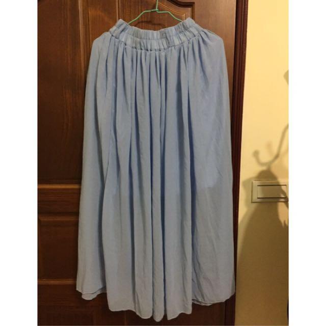 水藍色雪紡長裙