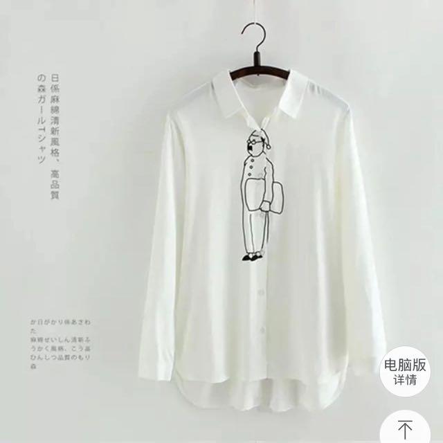 文藝線條長袖襯衫