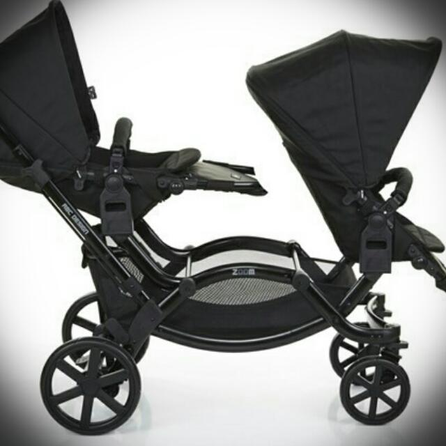 ABC Design Zoom Twin Pram 2015 Grey & Black Pram Comes With The Twin Grey Seats And A Black Bassinet  Used A Hand Full Of Times Great Condition Smoke Free And Pet Free Home