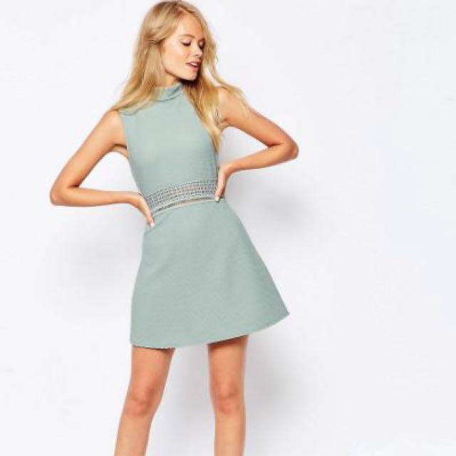 Asos Textured Mock Neck Aline Dress