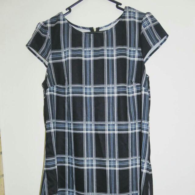 Blue, Grey And Black Mini Dress.