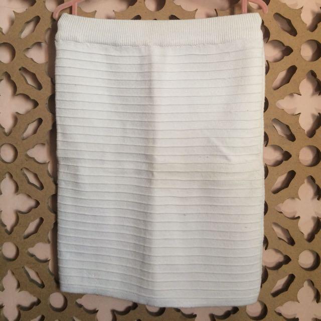Bodycon Knit Skirt- White