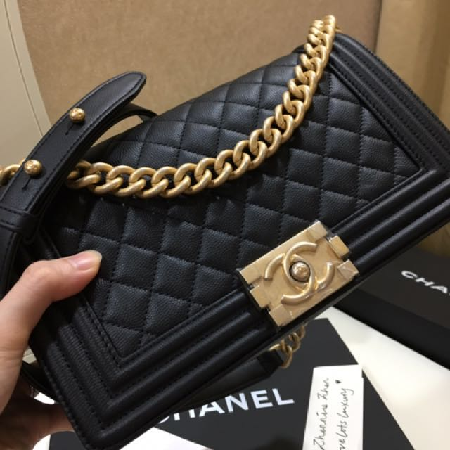 6a729e1fc237 SOLD) Brand New 17A Chanel Boy Old Medium Caviar in Black with Aged ...