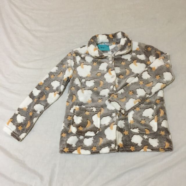 Long Sleeve Velvet Fleece Button Up Set Pyjamas(NIGHT SKY)