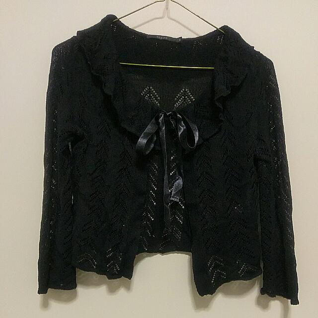 Cute Black Cardigan // Size 6 // frills, ribbon tie