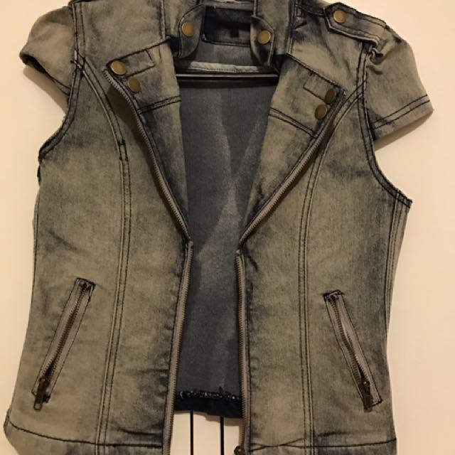 Denim Cropped Jacket Cardigan 8 Small