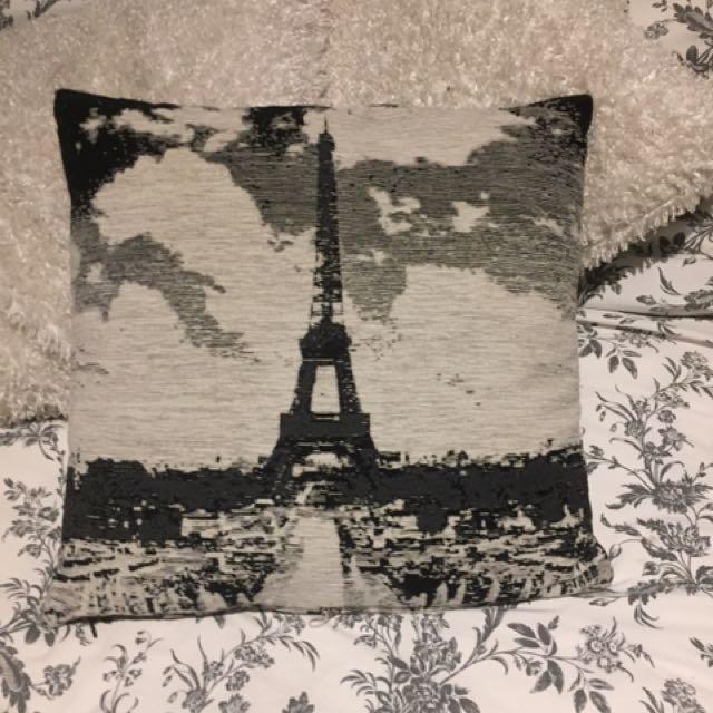 Eiffel Tower Grey Black White Pillow