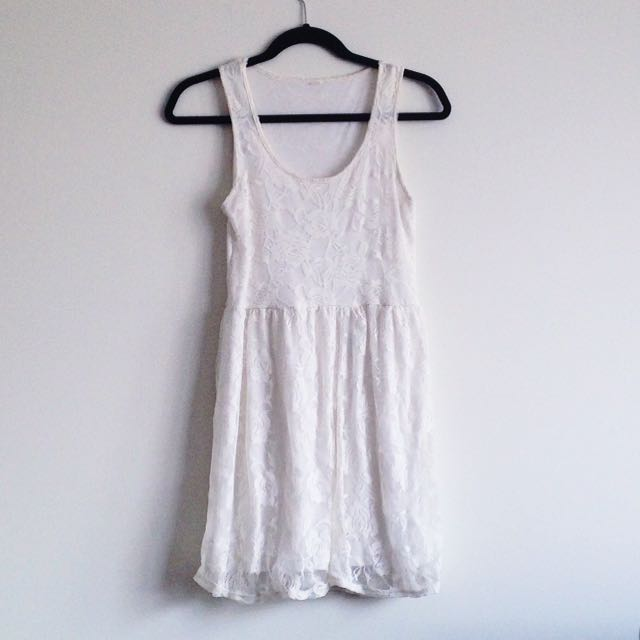 Factorie White lace floral overlay tank top style a-line dress