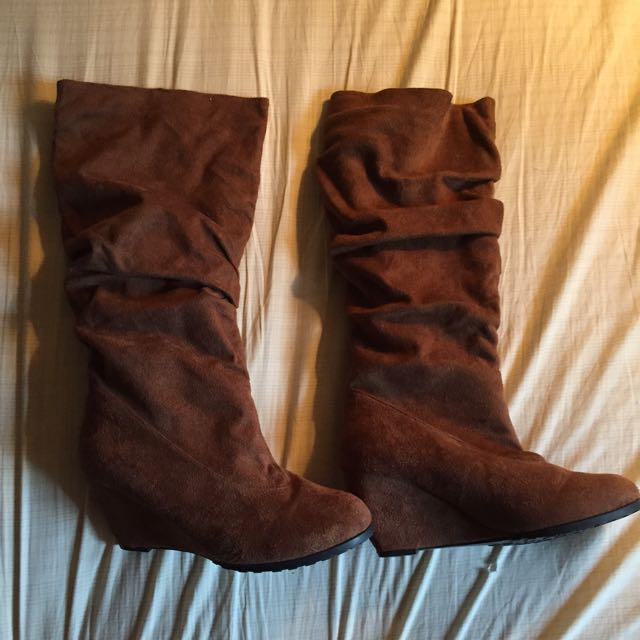 Faux Suede Knee-high Boots From Forever 21