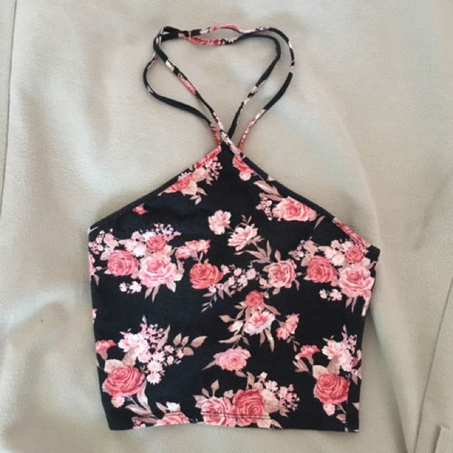 Floral Black Pink Halter Crop Top