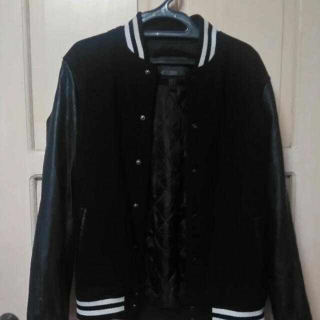 Forever 21 Men Varsity Jacket Leather Sleeves