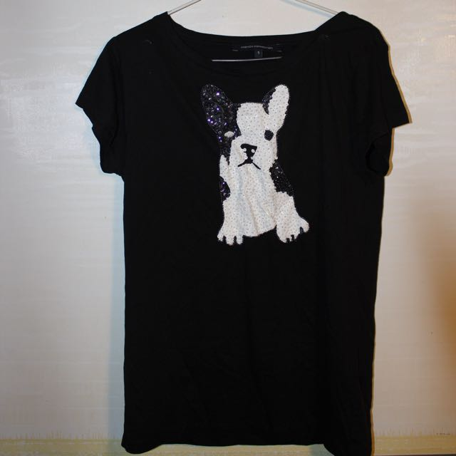 French Connection sequin french bulldog tshirt