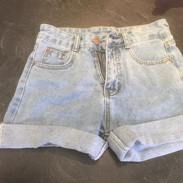 High Waisted Light Denim Shorts Size 26