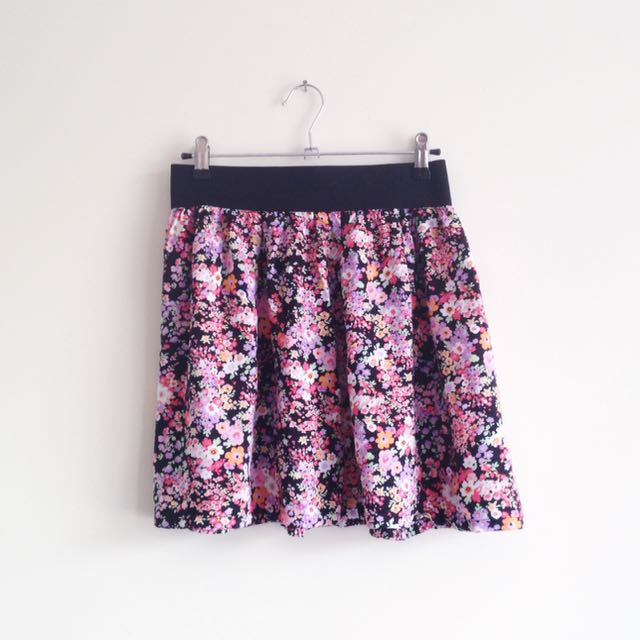 Jay Jays girly purple pink orange floral print flowy high waisted skirt with black elastic waist band