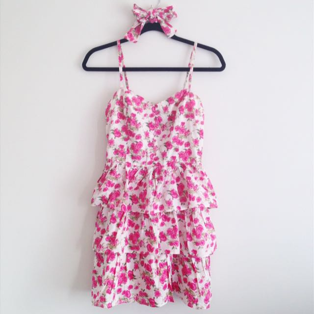 Jay Jays pink floral girly dress with button detail and ruffle ruffled tiers tiered layers