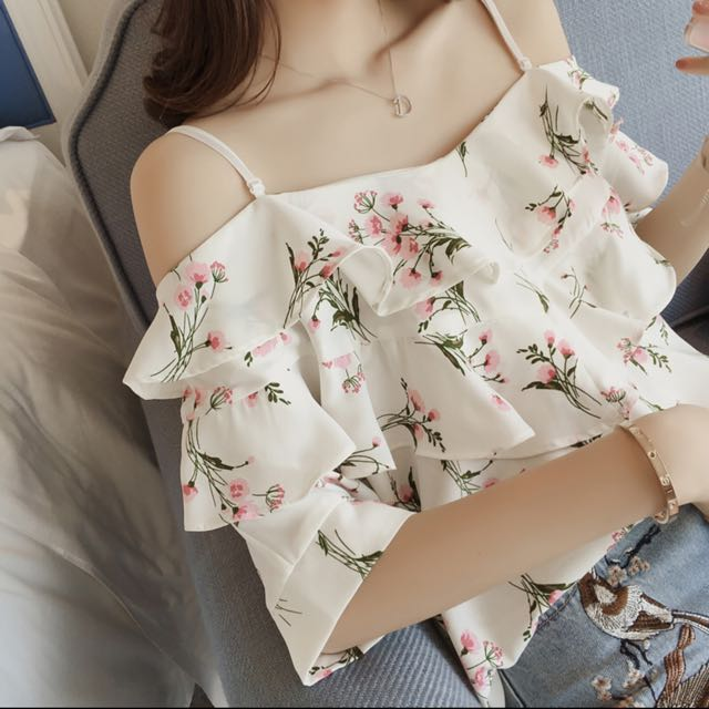 07cddbb2699517 Korean Off Shoulder Blouse Floral Print Ruffles Sleeves