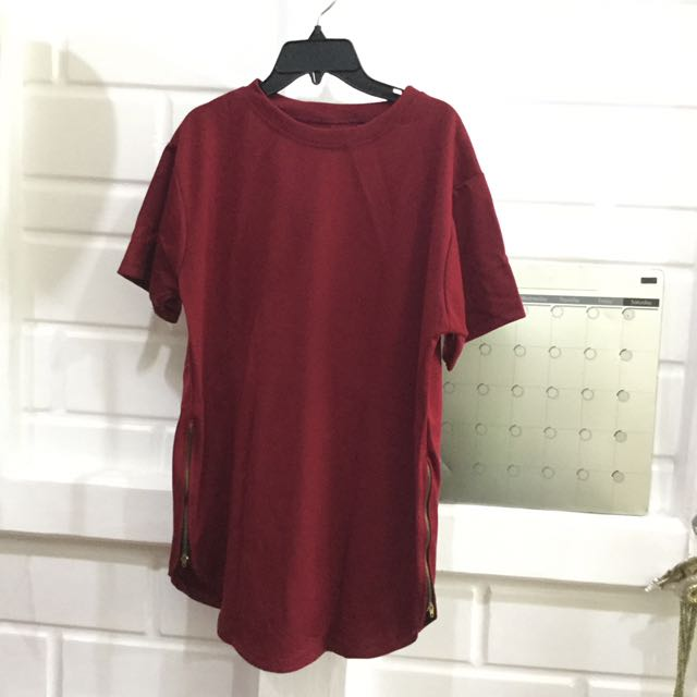 Long Tee Red With Zipper