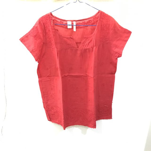MANGO TOP BLOUSE ATASAN RED