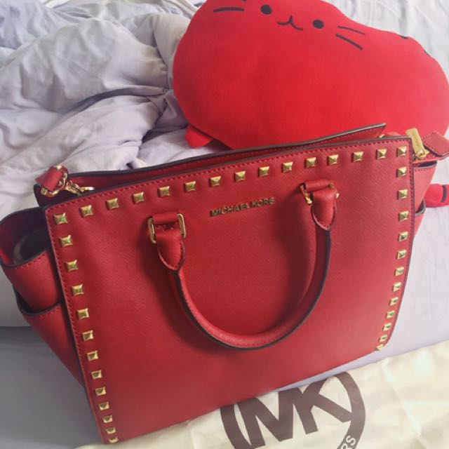 dd0bbe4f7a15 Michael Kors Selma Large Studded Saffiano Leather Satchel, Luxury ...