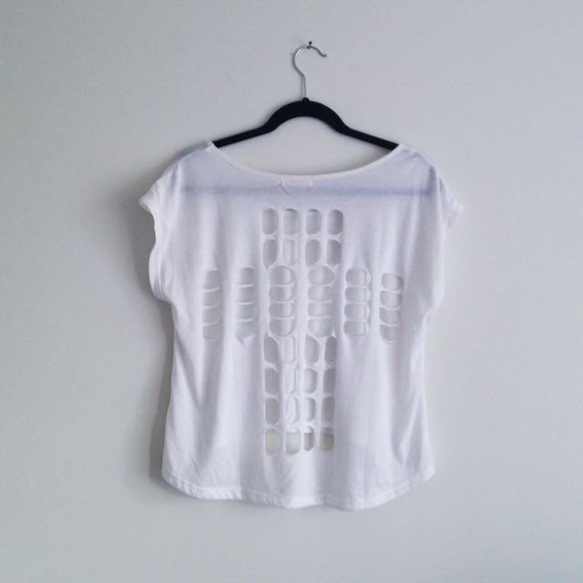 Mink white high low hem t-shirt with holes in cross shape on open back edgy