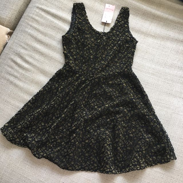 Petite Gold Black Dress