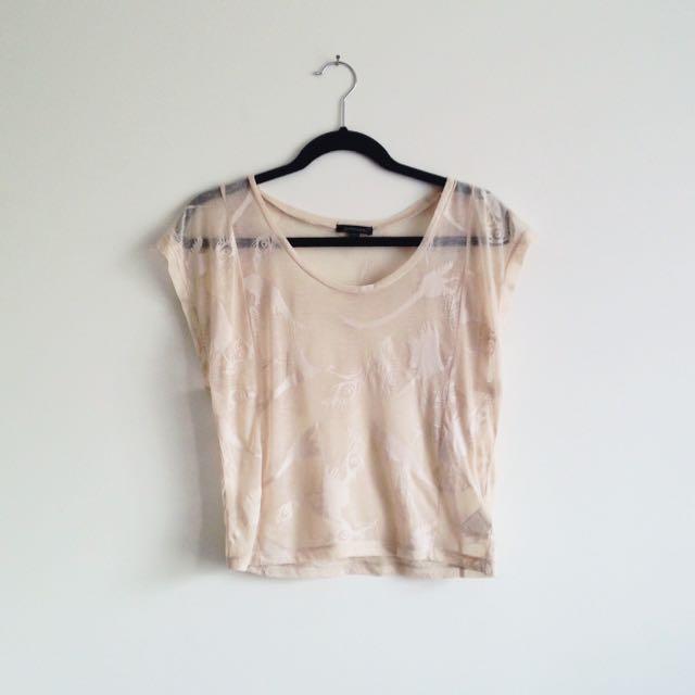 Portmans sheer feather print cream coloured  t-shirt