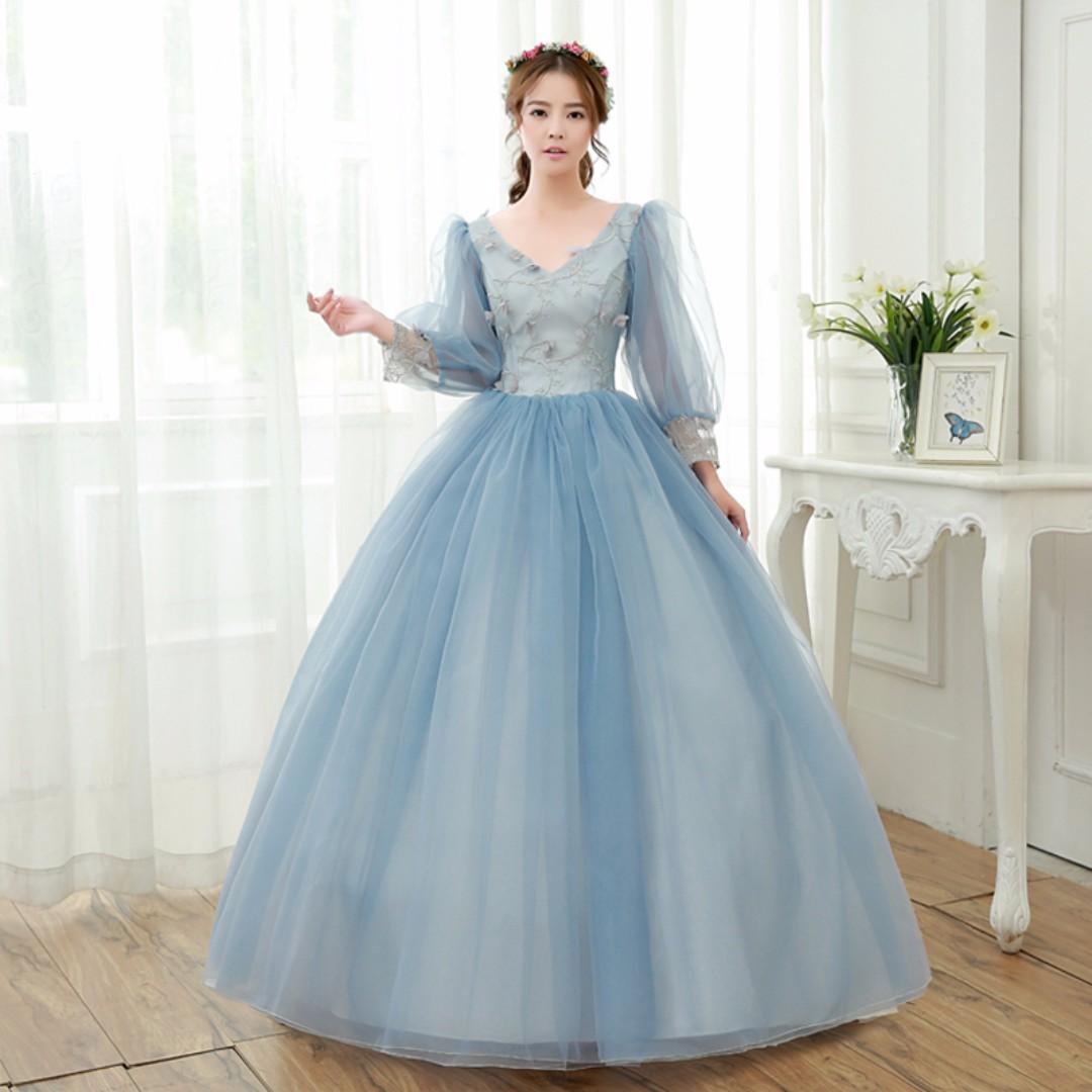 Pre order Grey long sleeve puffy Muslimah Wedding bridal prom dress ...