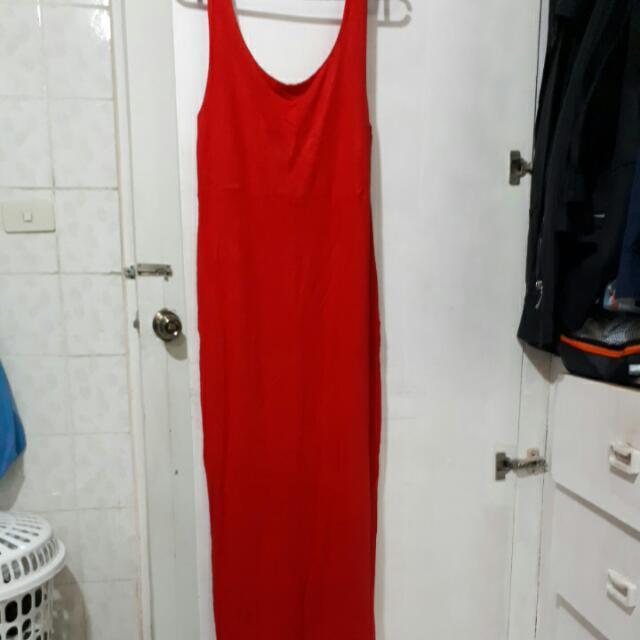 Preloved Red Low-back, Slit Dress