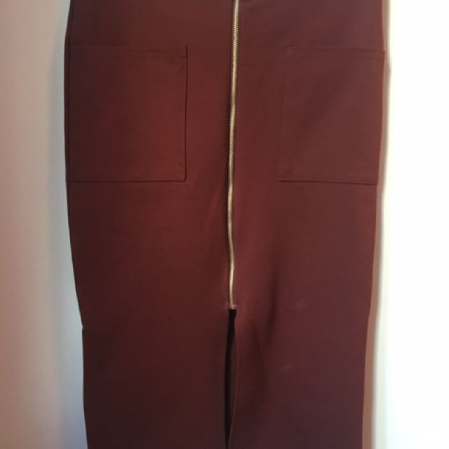 Primark Red/Burgundy Zipper Bodycon Skirt XS